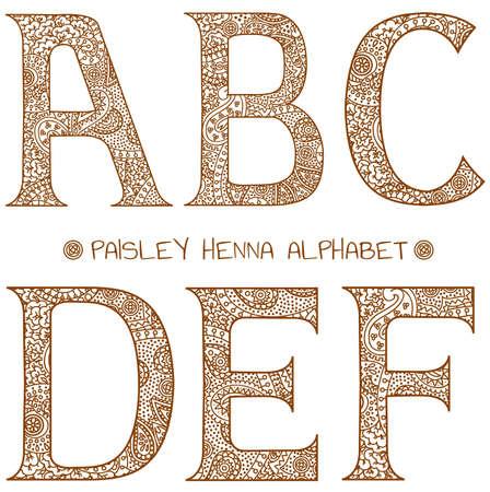 paisley henna alphabet a,b,c,d,e,f Vector