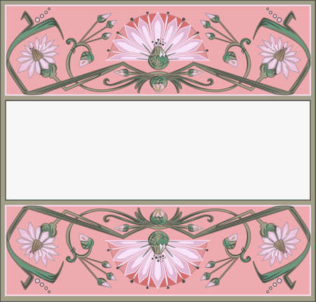 floral frame template in art-nouveau style Vector