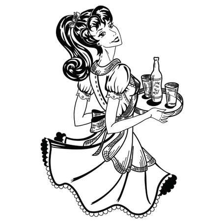 brings: retro waitress brings beer order