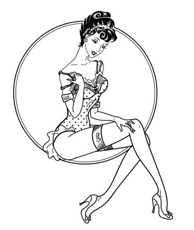 pin up classic sexy girl  Illustration