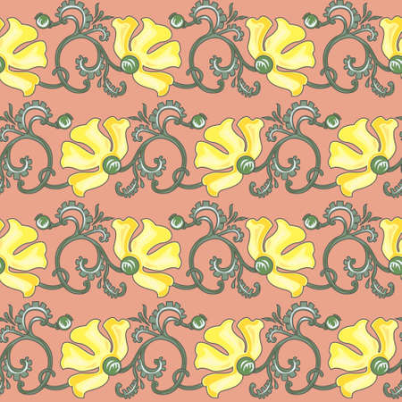 Floral seamless texture in art-nouveau style, yellow poppy Vector