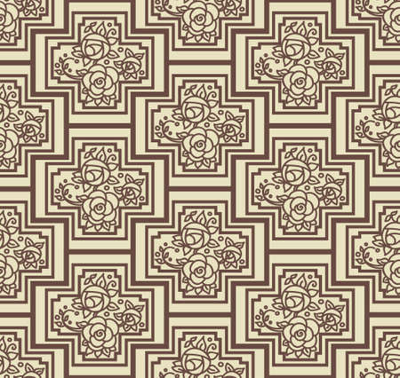 seamless baroque floral pattern, coffee and beige Vector