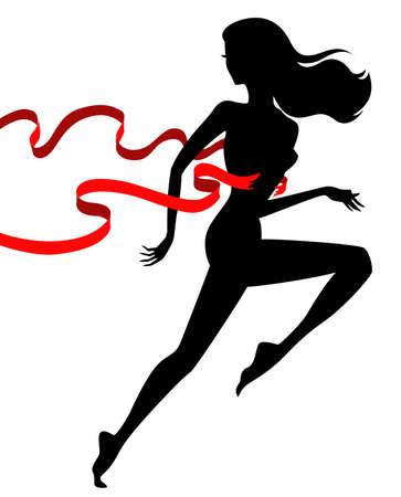 donna che corre: vincitore corridore vettore, femmina