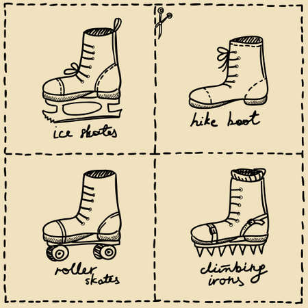 sport shoes doodle set Vector