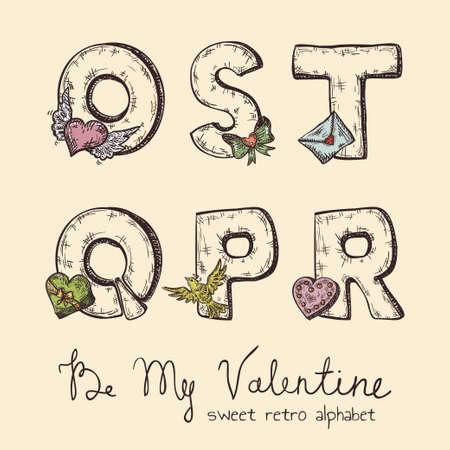 retro Valentine alphabet - o, s, t, q, p, r Stock Vector - 19425370