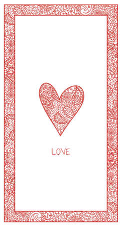 vertical valentine card with paisley
