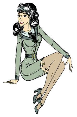 pin-up classic aviator sexy girl Vettoriali