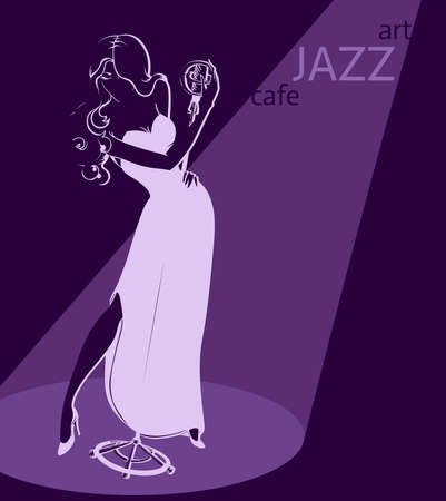 sexy jazz singer poster template  Illustration