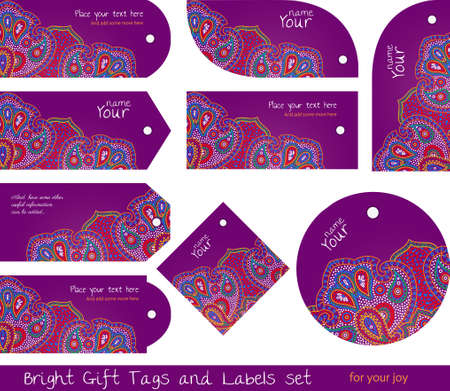 tags for gifts and goods, hippie purple Stock Vector - 19425609