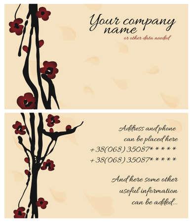sakura cherry business card Vector