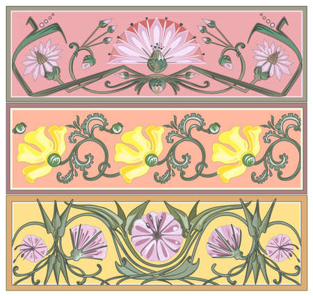 set of art nouveau borders Stock Vector - 19425446