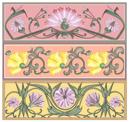 poppy seeds: set of art nouveau borders Illustration