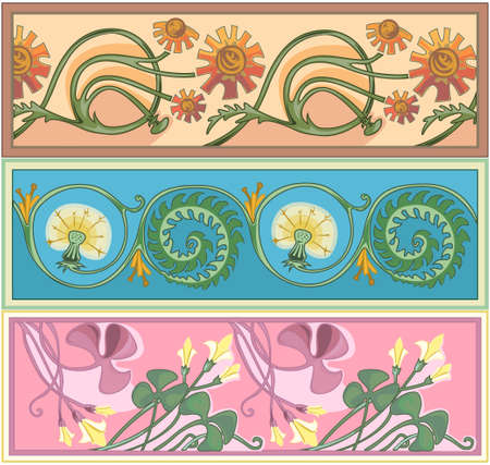 hawkweed: set of art nouveau borders Illustration