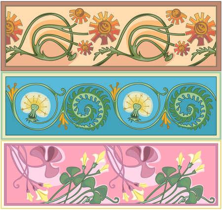 calendula flower: set of art nouveau borders Illustration