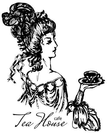vintage lady engraving