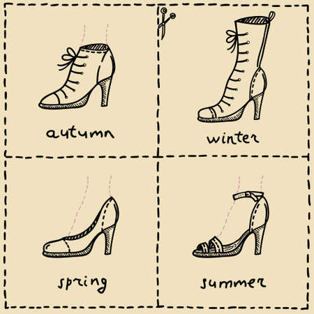 woman shoes doodle set