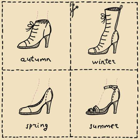 woman shoes doodle set