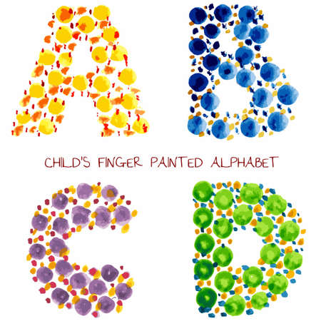 colorful funny paint alphabet - a, b, c, d Vector