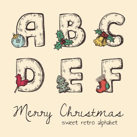 retro christmas alphabet - a, b, c, d, e, f Vector