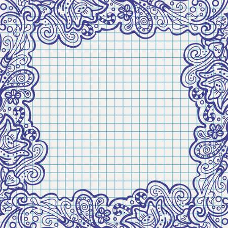 pen floral frame on school notebook paper