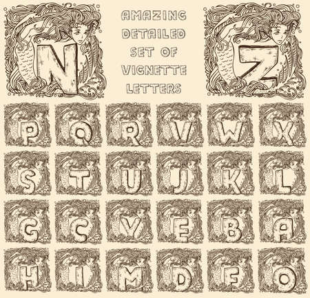 vintage marine alphabet - engraved letters in vignettes of mermaids - full set, ready to use Vector