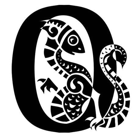 gargoyle capital letter O Vector