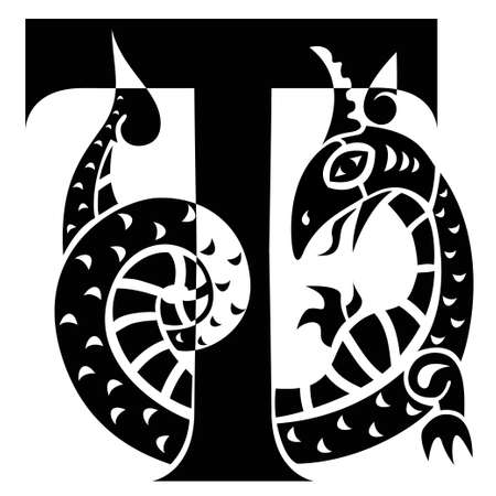 dragon fish: gargoyle decorating capital letter T Illustration
