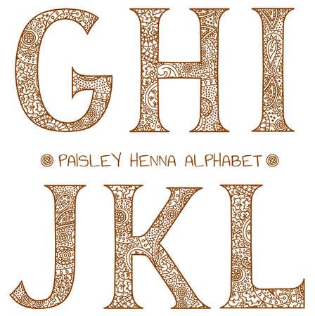 paisley henna alphabet g,h,i,j,k,l Vector