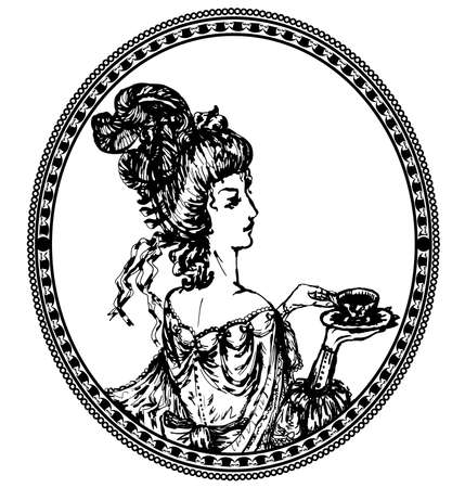 medallion, vintage lady with tea Vector