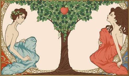 Adán y Eva, de estilo art-nouveau Ilustración de vector