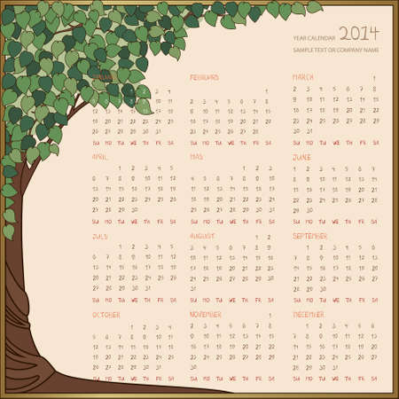 yearly: Yearly calendar 2014 in green tree frame