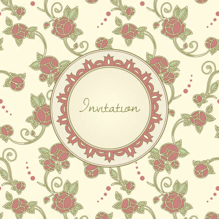 art nouveau style invitation card Vector