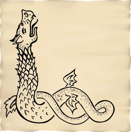 ink drawn dragon vignette Illustration