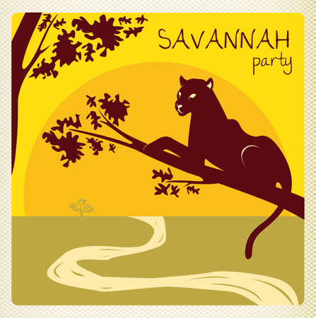 puma: club party invitation flyer card in africa style with panther Illustration