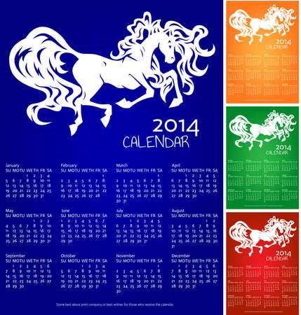 Calendar 2014, year of horse, recolors Vector