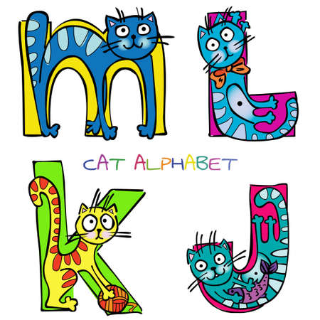 funny cats: cat alphabet j k l m