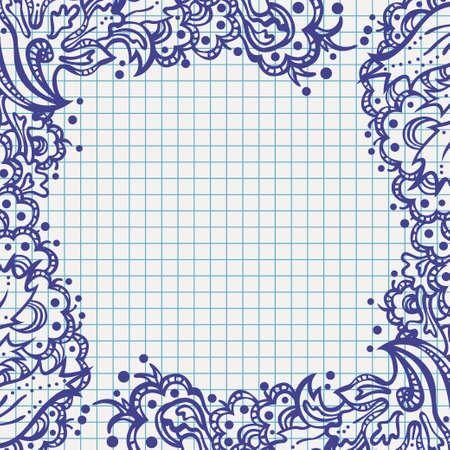 ballpen: ballpen floral frame on school notebook paper Illustration