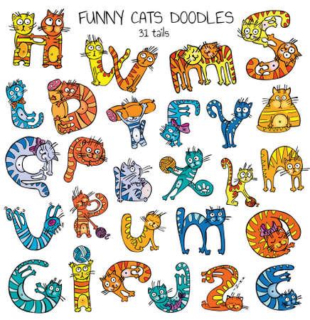 funny cats doodles set, color