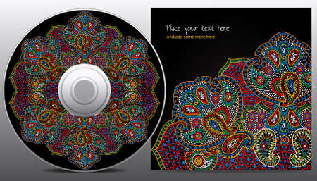 cd design in paisley floral style Vector
