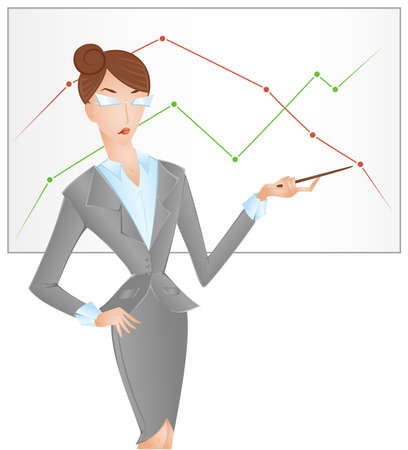 Business woman points successful and unsuccessful charts