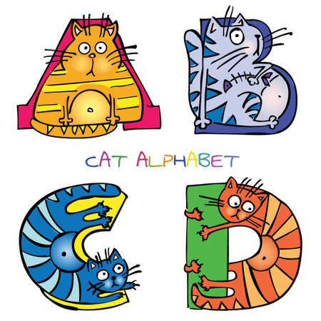 alphabet animaux: alphabet de chat abcd Illustration