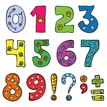 numbers and signs funny set  Illustration