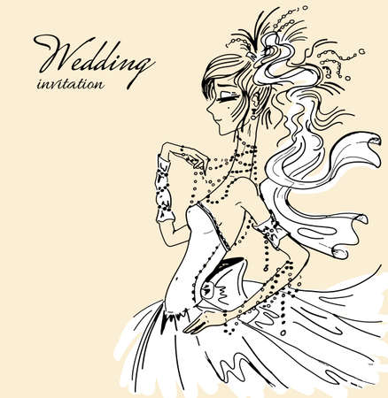 copy spase: Wedding invitation with beautiful bride Illustration