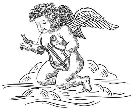 muse: Angel in engraving style with bird and harp on cloud Illustration
