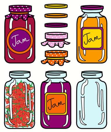 strawberry jam: isolated jars set in retro style
