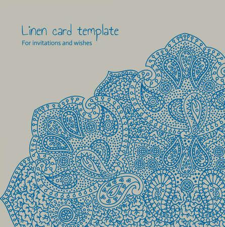 Linen brocade card template Stock Vector - 19759236