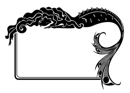water nymph: Art-nouveau mermaid silhouette frame