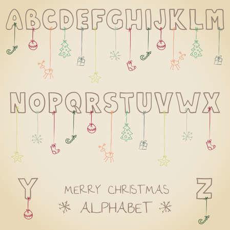 funny christmas alphabet Stock Vector - 19759197