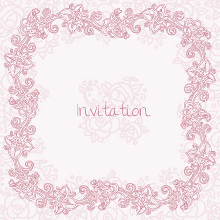 ornate floral invitation card Stock Vector - 19759230
