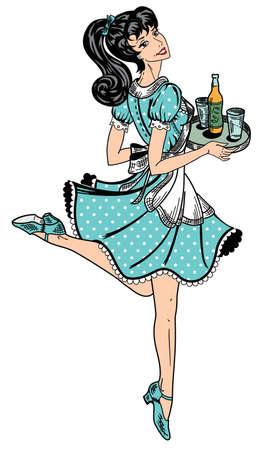 pin up vintage: cameriera di colore in stile retr� porta ordine birra Vettoriali